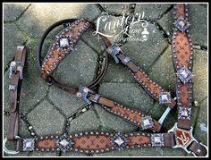 custom tack set, colorado topaz and pink crystals