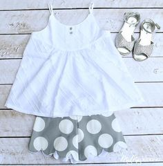 Scallop Shorts... Gray and White Polka Dot... Girls Clothing... Toddler... Girl... by Dogwood Lane