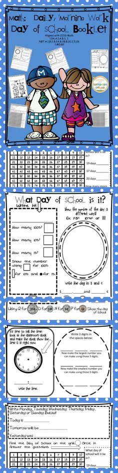 $3.00 #commoncore Math: Daily/ Morning Work Day of School Booklet This Daily Morning or anytime booklet is a way to encourage your kiddos to think about numbers in a fun way. Each day the students use the number of the day to do various math related activ