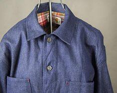 """Vintage 80's Old Stock Denim Chore Jacket, Vintage Workwear Denim Chore Jacket x large, Vintage 80's """"Golden Horse""""  Chore Jacket size 52"""