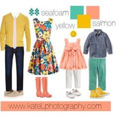 Seafoam + Salmon + Yellow // Family Outfit