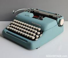 BABY BLUE SMITH CORONA SUPER MANUAL TYPEWRITER WITH WHITE KEYS AND BLUE SPACE BAR + CASE - SOLD