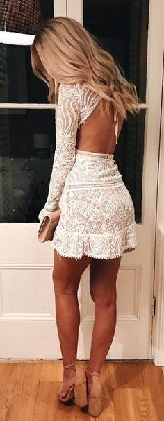 Modest Wedding Dresses With Sleeves Boho #summer #outfits / white lace dress cute outfits for girls 2017 Sexy Dresses, Sexy Party Dress, Dresses For Teens, Trendy Dresses, Nice Dresses, Long Sleeve Homecoming Dresses, Mini Prom Dresses, Grad Dresses, Wedding Dresses