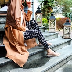 Plaid pants and camel coat - check out: Esma <3