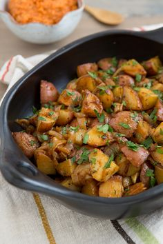 Smoky Braised Potatoes with Spicy Romesco Sauce