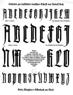 From one of the specimen books for the Klingspor Foundry's Deutsche Schrift. The typeface was designed by Rudolf Koch. Chicano Lettering, Tattoo Lettering Fonts, Graffiti Lettering, Lettering Styles, Types Of Lettering, Lettering Design, Hand Lettering, Calligraphy Letters, Typography Letters
