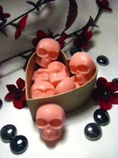 Skull Soap w/ heart shaped box (Pick your color) 6 customized cream soaplets. $7.99, via Etsy.