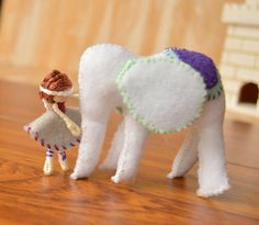Felt Elephant and Fairy Doll  felt fairy doll by FifteenMagpieLane