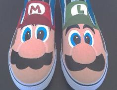 Hand Painted Mario and Luigi Vans Slip On Shoes by SceeneShoes
