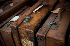 I'm liking old brown it's got a hogwarts feel Vintage Suitcases, Vintage Luggage, Vintage Trunks, Vintage Travel, Remus Lupin, Hogwarts, Old Luggage, Leather Luggage, Leather Suitcase