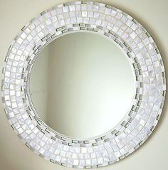 Beautiful Handmade Mosaic Mirror Bevelled Edge white ceramic and blue foiled glass Mosaic Tile Mirror Mosaic, Diy Mirror, Mosaic Art, Mosaic Glass, Mosaic Tiles, Mosaics, Mosaic Crafts, Mosaic Projects, Stained Glass Designs