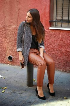 Brown leather pants outfit