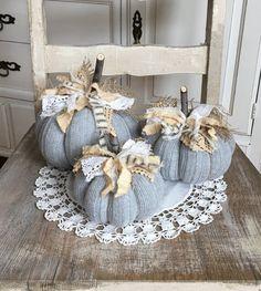 Sweater Pumpkins Set of 3 rust grey cream fabric pumpkins fall decor rustic farmhouse style shabby cottage chic Sweater Pumpkins, Fall Pumpkins, Autumn Decorating, Pumpkin Decorating, Decorating Ideas, Fall Halloween, Halloween Crafts, Craft Font, Autumn Crafts