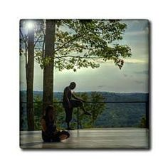 "2 dancers, on outdoor platform stretching - 12 Inch Ceramic Tile by 3dRose. $22.99. Image applied to the top surface. High gloss finish. Dimensions: 12"" H x 12"" W x 1/4"" D. Clean with mild detergent. Construction grade. Floor installation not recommended.. 2 dancers, on outdoor platform stretching Tile is great for a backsplash, countertop or as an accent. This commercial quality construction grade tile has a high gloss finish. The image is applied to the top su..."