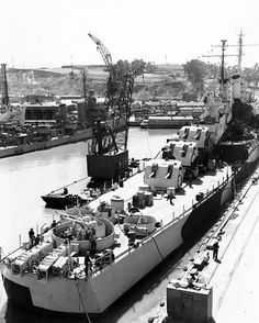 5 in Atlanta class light cruiser USS San Diego at Mare Island Naval Shipyard, Vallejo, California on 9 April 1944: she was the second most decorated vessel in the Pacific theatre of operations, and the first major warship to enter Tokyo Bay after the Japanese surrendering August 1945.