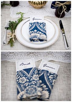 perfect colour and pattern: Blue and White Wedding , Stationary and Napkins