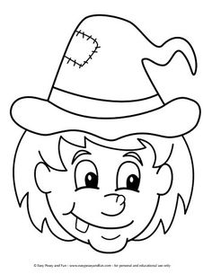 Halloween Coloring Pages - Easy Peasy and Fun Halloween Coloring Pictures, Free Halloween Coloring Pages, Witch Coloring Pages, Halloween Pictures, Coloring Pages For Kids, Coloring Books, Kids Coloring, Halloween Silhouettes, Halloween Drawings