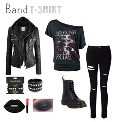 Black Veil Brides inspired outfit by whateverxox on Polyvore featuring Miss Selfridge, Dr. Martens, Bling Jewelry, Lime Crime, bandtshirt and bandtee