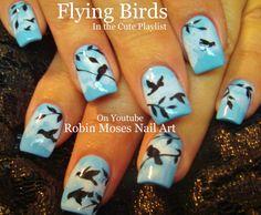 Nail Art Tutorial | Flying Birds Nail Design