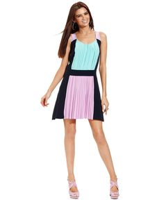 Betsey Johnson Dress, Sleeveless Pleated Colorblock -Dresses - Women - Macys. Blue/Purple/Black
