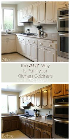 The Best Way to Paint Kitchen Cabinets (No Sanding!) - The Best Way to Paint Kitchen Cabinets (No Sanding!) Les images impressionnantes de Cuisine meuble q - Black Kitchen Cabinets, Refinish Kitchen Cabinets, Diy Cabinets, Kitchen Redo, Kitchen Ideas, Painting Kitchen Cabinets White, Kitchen Countertops, Farmhouse Cabinets, Kitchen Makeovers