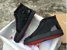 Christian Louboutin Louis Orlato Mens Flat High Spikes Sneakers… Mens New Years Eve Outfit New Sneakers, Leather Sneakers, Sneakers Fashion, Fashion Shoes, Fashion Outfits, Fashion Hair, Womens Fashion, Tenis Louboutin, Trendy Mens Shoes