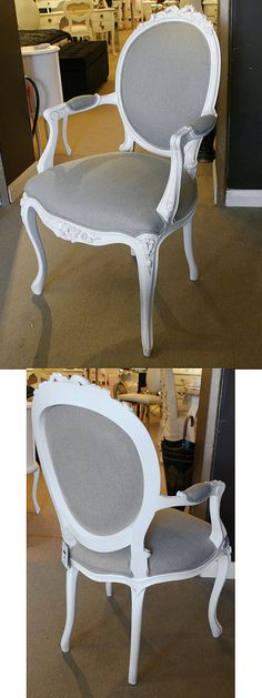 Chateau white Linen French Carver Chair