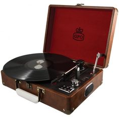 GPO Attache Suitcase Record Player with USB - Brown