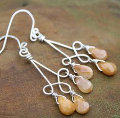 Handmade Earrings Sterling Silver Wire Wrapped Honey Jasper Dangles. $26.00, via Etsy.