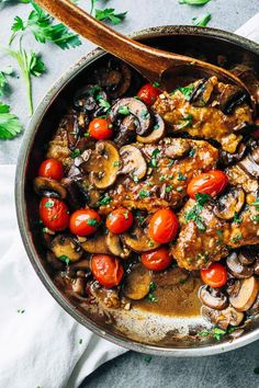 Drunken Tomato Chicken Marsala- This Fall Dinner Party Menu Is Mouthwateringly Delicious via @MyDomaine