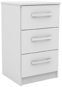 Birlea Lynx 3 Drawer High Gloss Bedside Table White