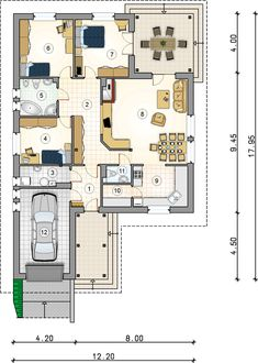 Rzut AT OSTOJA BIS CE House Plans Mansion, Small Terrace, Tropical Houses, Entryway Decor, Home Projects, Planer, Bungalow, Architecture Design, Diy Home Decor