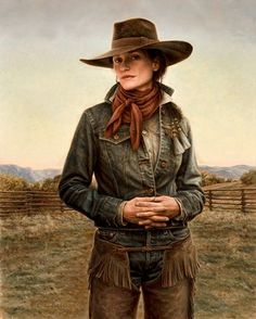 """North Country Cowgirl by Carrie L Ballantyne Giclee Print ~ 18"""" x 14 1/2"""""""