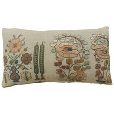 19th c. Petite Turkish Embroidery Lumbar Pillow | From a unique collection of antique and modern pillows and throws at https://www.1stdibs.com/furniture/more-furniture-collectibles/pillows-throws/