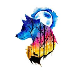 Wyuen New Design Wolf Forest Night Sky Fake Tattoo Waterproof Temporary Arm Tatoo Stickers for Women Men Body Art Tattoos Wolf Tattoos, Animal Tattoos, Art Tattoos, Cute Animal Drawings, Cool Drawings, Wolf Artwork, Wolf Painting, Wolf Tattoo Design, Tattoo Designs