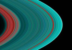 Saturn's A ring, seen in the ultraviolet. Blue areas indicate water ice; red areas are gaps or less dense segments. (NASA/JPL/University of Colorado)