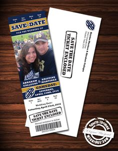 Event Ticket Save the Date custom created with your photo for under $2 each  #stwdotcom