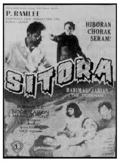 "Old Cinema Poster Ad - Malay Horror Movie ""Sitora"", staring P. Ramlee"