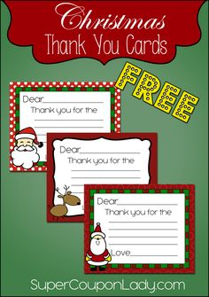 Free Christmas Thank You Cards - Super Coupon Lady