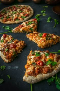 Individual Indian Tikka Masala Pizzas with Whole Wheat Crust (Vegan)