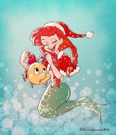 Christmas Ariel and Flounder Disney Pixar, Arte Disney, Disney And Dreamworks, Disney Cartoons, Disney Magic, Disney Art, Disney Princess Ariel, Princesa Disney, Princess Art