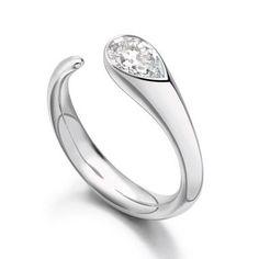 Paul Spurgeon // Single stone pear-cut diamond ring // Contemporary Engagement Rings and Diamond Jewelry Make it or melt it? Diamond Jewelry, Jewelry Rings, Jewelry Accessories, Jewelry Design, Diamond Pendant, Jewellery Stand, Platinum Diamond Rings, Platinum Jewelry, Gold Jewellery