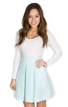 Mint Pleated Skirt - http://www.laurenjames.com/collections/skirts/products/pleated-seersucker-skirt