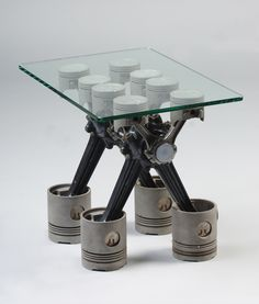 Piston Table. Coffee Table made with motor parts