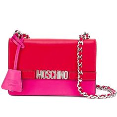 Moschino colour block shoulder bag ($1,025) ❤ liked on Polyvore featuring bags, handbags, shoulder bags, red, chain shoulder bag, embossed leather handbags, genuine leather shoulder bag, red purse and leather purses