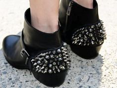 Black, studded ankle boots