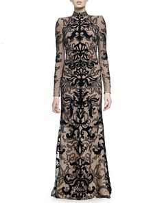 Velvet Damask Lace Gown by Alexander McQueen at Bergdorf Goodman.