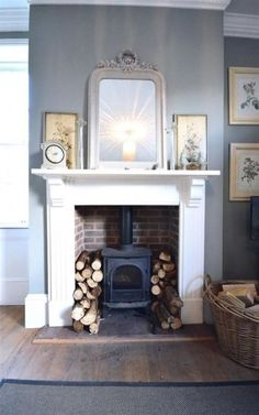 Hottest Free Fireplace Hearth log burner Tips Super Wood Burning Stove Fireplace Fire Surround Log Burner Ideas Log Burner Living Room, Living Room With Fireplace, New Living Room, Living Room Decor, Living Area, Fireplace Surrounds, Fireplace Design, Fireplace Ideas, Inglenook Fireplace