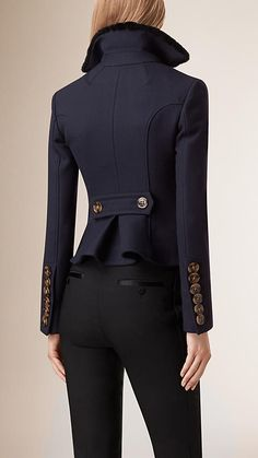 Navy Tailored Wool Silk Jacket - Image 3