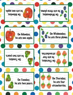 Very Hungry Caterpillar Birthday Party 3.5x5 Tent Labels for Food